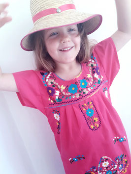 Mädchen Boho Sommerkleid, Tunika pink2 (blaue Blüte) handbestickt aus Mexiko