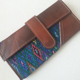 Geldbörse Leder (braun) mit Stickerei (blau) aus Mexiko