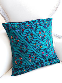 Boho Deko-Kissen Maya königsblau-dunkelblau, handgenäht und bestickt aus Mexiko