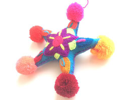 Weihnachtsdeko Sterne mit pom pom-Ecke, kräftige Farben (blau)