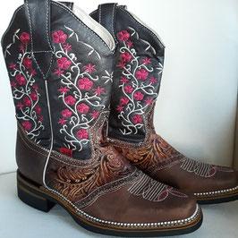 Leder-Cowboystiefel für Damen mit Stickerei aus Mexiko (braun) limitierte Anzahl!