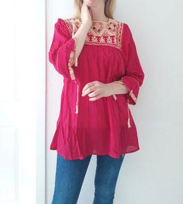 Bluse/Tunika/Top San Andres (pink) handgewoben und handbestickt aus Mexiko