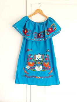 Boho Sommerkleid, Tunika mit Volant (königsblau) mit Blumenstickerei