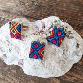 Boho Ohrringe und Ring mit Stickerei  als Set aus Mexiko (handmade)