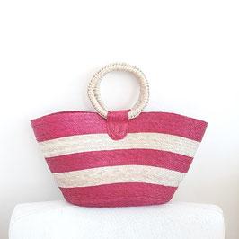 Einkaufstasche / Tasche aus Palmenblatt / Tasche / Shopper medium (pink-natur)