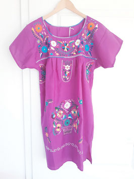 Boho Sommerkleid, Tunika lila 2 handbestickt aus Mexiko