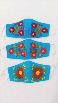 Farbenfrohe Boho Alltagsmaske (blau-rot-orange-braun)