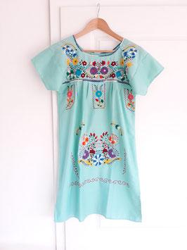 Boho Sommerkleid, Tunika aus Mexiko hell-türkis (minze) handbestickt aus Mexiko