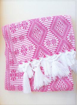 Boho Schal/ Tuch, Winterschal (rosa-weiss) aus Mexiko