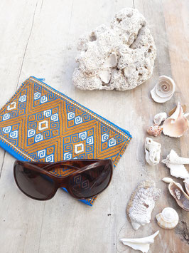 Kosmetikbeutel, Schminktasche Maya (sand-blau) aus Mexiko