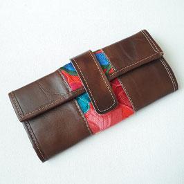 Geldbörse Leder (braun) mit Stickerei (rot-blau) aus Mexiko
