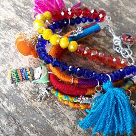 Multicolor Armband aus Mexiko (handmade, Pom pom lila, blau)