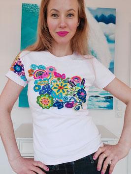T-Shirt (hellrosa1) Größe M: mit Blumenstickerei