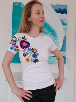 T-Shirt (hellrosa2) Größe M: mit Blumenstickerei