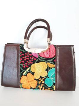 Boho Handtasche / Ledertasche aus Mexiko mit Stickerei gelb