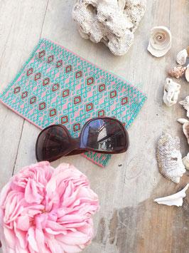 Kosmetikbeutel, Schminktasche Maya (türkis-rosa) aus Mexiko