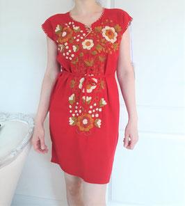 Flower power Sommerkleid, Tunika rot