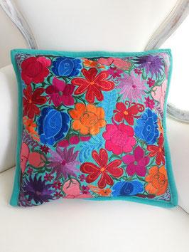 Deko-Kissen türkise Blumenwiese aus Mexiko, Kissenbezug, Kissenhülle boho