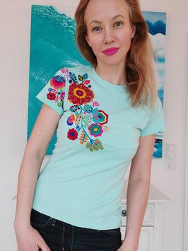 T-Shirt (mint) Größe M: mit Blumenstickerei