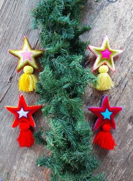 Baumschmuck Stern mit Streifenstickerei aus Mexiko, Weihnachtsdeko