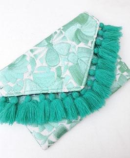 Boho Clutch / Abendtasche / Schultertasche mint (hellgrün) aus Mexiko