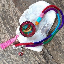 Multicolor Frida Halskette mit Bommel/ Pom pom in pink (handmade)