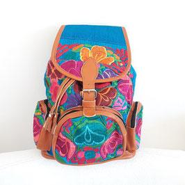 Rucksack/Tasche für Wanderung / Mexikanische Tasche  bestickt (blau) aus Mexiko