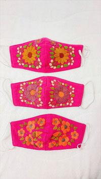 Farbenfrohe Boho Alltagsmaske pink (goldbraun-lila-lachs)