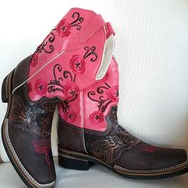 Leder-Cowboystiefel für Damen mit Stickerei aus Mexiko (pink) limitierte Anzahl!