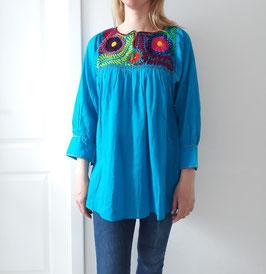 Bluse/Tunika/Top Margarete multicolor (blau) handbestickt aus Mexiko