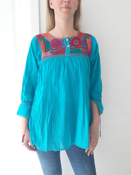 Bluse/Tunika/Top Multiflower (blau) handbestickt