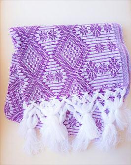 Boho Schal/ Tuch, Winterschal (lila-weiss) aus Mexiko