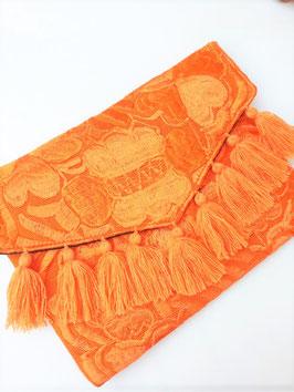 Boho Clutch / Abendtasche / Schultertasche orange aus Mexiko