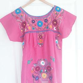 Boho Sommerkleid, Tunika pink handbestickt aus Mexiko