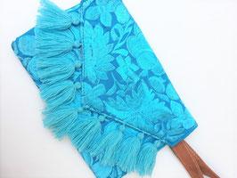 Boho Clutch / Abendtasche / Schultertasche blau aus Mexiko