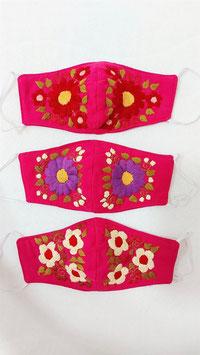 Farbenfrohe Boho Alltagsmaske pink (rot-lila-hellgelb)