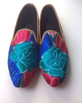 Grösse 40 Bestickte Lederschuhe aus Mexiko rot-blau-türkis