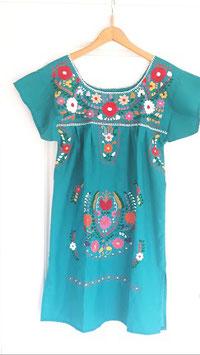 Boho Sommerkleid, Tunika türkis handbestickt aus Mexiko