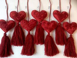 Rote Herzen Taschenanhänger rot (1 pom pom)