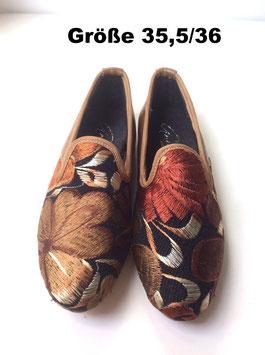 "Grösse: 36 Bestickte Leder-Schuhe aus Mexiko ""Cafe con Leche"""