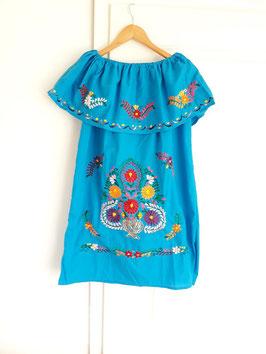 Boho Sommerkleid, Tunika mit Volant (königsblau 2) mit Blumenstickerei