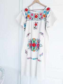 ab Größe 40/42, mexikanische Tunika lang creme-weiss (1) handbestickt, Boho Sommerkleid