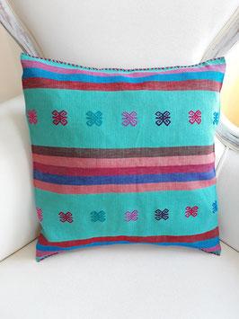 Boho Deko-Kissen Streifen (türkis) handgenäht und bestickt aus Mexiko