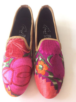 Grösse 37 Bestickte Lederschuh aus Mexiko pink