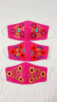 Farbenfrohe Boho Alltagsmaske pink (kirsch-orange-beige