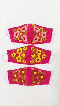 Farbenfrohe Boho Alltagsmaske pink (rosa, gelb)