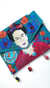 Boho-Clutch / Schultertasche Frida petrol aus Mexiko