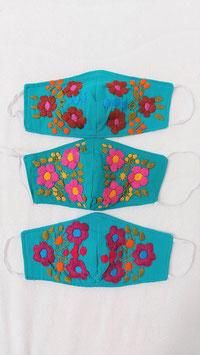 Farbenfrohe Boho Alltagsmaske (türkis-kirsch-pink-braun)