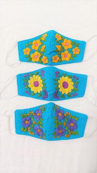 Farbenfrohe Boho Alltagsmaske (türkis-blau1)