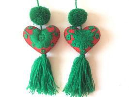 Baumschmuck, Taschenanhänger, Herz (rot-grün)